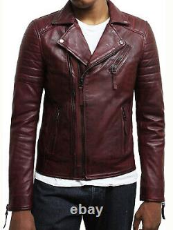 Men's Leather Retro Distressed Black/Brown/Burgundy/Tan/Black Biker Jacket