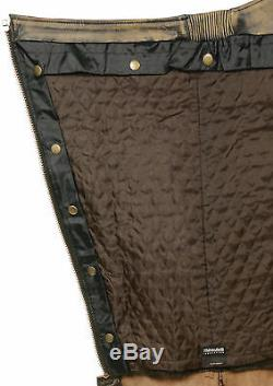 Men's Motorcycle Distressed Brown Leather Riding Chap Pants Snap Out Liner
