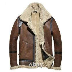 Men`s RAF Trench Coat Brown Distressed Real Sheepskin Shearling Leather Jacket