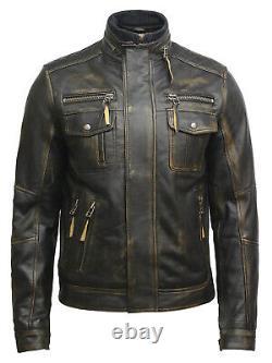 Men's Real Leather Distressed Café Racer Black/Brown Rub Off Biker jacket