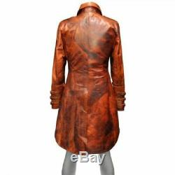 Men's Steampunk Gothic Military Brown Distressed Leather Trench Coat Jacket