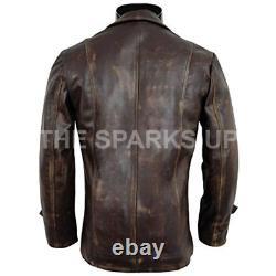 Men's Stylish New Cafe Racer Biker Genuine Distressed Brown Leather Jacket