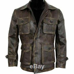 Men's Stylish New Cafe Racer Biker Real Leather Distressed Brown Leather Jacket