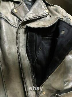 Men's Wilsons Distressed Belted Motorcycle Jacket Brown Leather Sz M