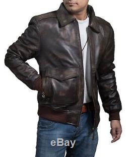 Mens A-2 Bomber USAF AIR Force Flight Distressed Brown Cowhide Leather Jacket