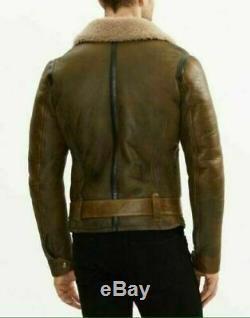 Mens B3 RAF Aviator Real Shearling Brown Sheepskin Leather Flight Bomber Jacket