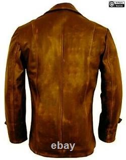 Mens Brown Stylish Cafe Racer Biker Real Leather Distressed Leather Jacket New