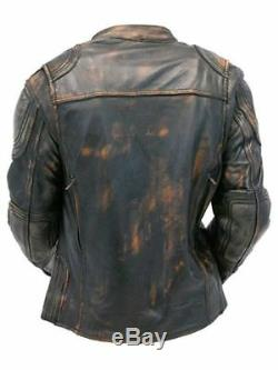 Mens Cafe Racer Quilted Distressed Brown Vintage Motorcycle Biker Leather Jacket