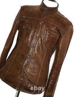 Mens D&g Dolce & Gabbana Leather Distressed Safari Bomber Shirt Jacket Coat 42r
