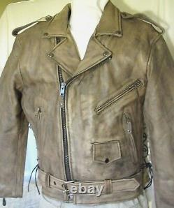 Mens Distressed Brown Leather Motorcycle Jacket withGun Pockets Vented Size XL New