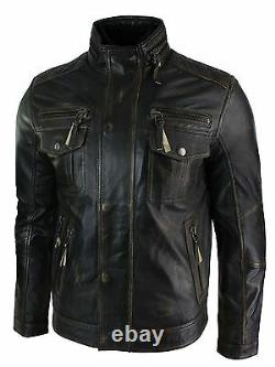Mens Distressed Ruboff Black Brown Vintage Retro Military Leather Jacket Casual