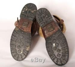 Mens Frye 10M W12 Moto Belted Brown Distressed Shearling Lined Leather Boots