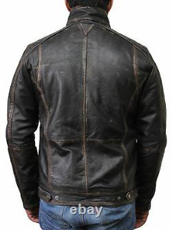 Mens Genuine Leather Biker Bomber Jacket Vintage Racing Quilted Distressed Black