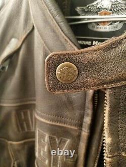 Mens Harley Davidson Leather Jacket xxl (distressed brown)
