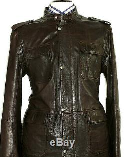 Mens Hugo Boss 100% Leather Distressed Look Brown Bomber Aviator Jacket Coat 44r