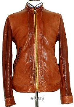 Mens Hugo Boss Leather Distressed Looked Brown Bomber Aviator Jacket Coat 44r