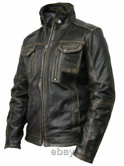 Mens Leather Double Zipper Vintage Distressed Black/Brown Rub-Off Biker Jacket