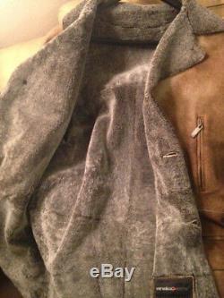 Mens Light Brown Shearling Sheepskin Leather Car Coat XL