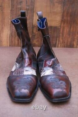 Mens Mark Nason Rock Lives Zip Boots Italy Leather Distressed 67534 Shoes 12