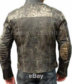 Mens Motorcycle Distressed Hooligan Leather Jacket Bikers Casual Fashion Vintage