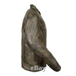 Mens Premium Cowhide Leather Distressed Brown Vented Motorcycle Jacket Sa66
