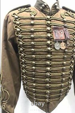Mens Steampunk Military Hussar Jacket Coat Distressed Antique Gold Braid Medals