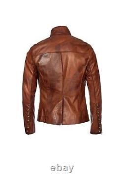 Mens Tan Brown Steampunk Dieselpunk Leather Distressed Tailored Biker Jacket