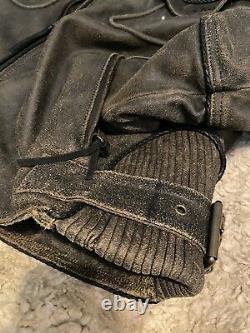 Mens Vintage Harley Davidson Billings Leather Jacket XL brown distressed