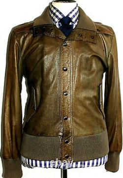 Mens Vivienne Westwood Leather Distressed Looked Bomber Aviator Jacket Coat 38r