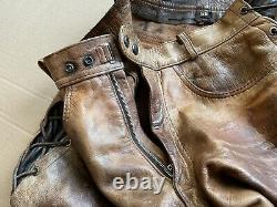 Mens distressed leather side-lace pants, Unlined, Brown Tan, BLUF 34x29
