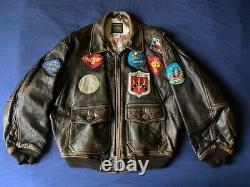 Mens vintage Avirex Type G-1 U. S. Navy leather flight jacket distressed size XL