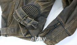 Mens vintage harley davidson leather jacket M brown BILLINGS distressed zip bar