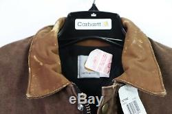 NOS Vtg 90s Carhartt Distressed Leather Collar Lined Chore Barn Jacket Mens L
