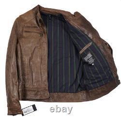 NWT D'ARIENZO Modern-Fit Distressed Brown Leather Moto Jacket XXL (Eu 56)