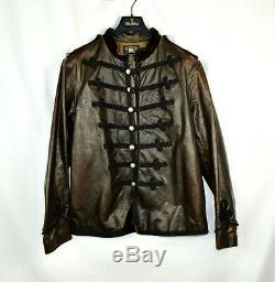 NWT New RRL Ralph Lauren Leather Distressed Military Black/Brown Jacket Men's L