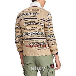 NWT Polo Ralph Lauren Vintage Distressed Fair Isle Eton cardigan sweater XL