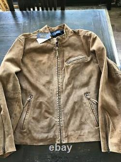 NWT Polo Ralph Lauren (XXL) Distressed Acorn Brown Suede Moto Leather Jacket