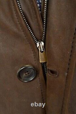 New $4500 LUCIANO BARBERA Brown 100% Leather Full Zip Suede Coat Jacket M EU 50
