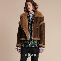 New Burberry Prorsum FW16 Sculptural Distressed Shearling Leather Flight Jacket