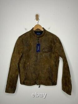 New Polo Ralph Lauren Medium Brown Cafe Racer Leather Jacket RRL Wax Oil 1OF1