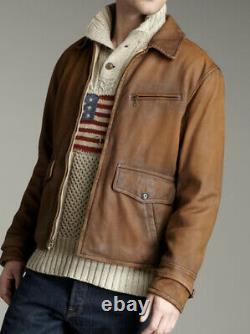 New Polo Ralph Lauren Medium Leather Newsboy Jacket RRL Rugby Indiana Jones Coat