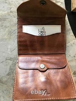 New Ralph Lauren RRL Icon distressed Tan leather Concho Bifold Wallet