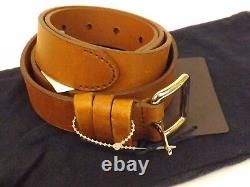 Nwt Prada Distressed Leather Brown Small Silver Buckle Belt 100-40