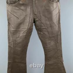 OBELISK Size 32 Brown Distressed Leather Bell Bottom Pants