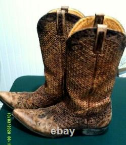 OLD GRINGO Mens Distressed Brown Woven Leather Boots- EUC S 12D