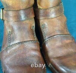 Officine Creative Distressed Brown Leather Mens Mid Calf Buckle Strap Boots 41
