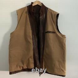Orvis Lambskin Leather Full Zip Hunting Snap Vest Mens 2XL Moleskin Lining