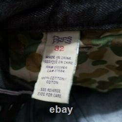 PRPS Demon Slim Fit Button Fly Distressed Selvedge Denim Jeans Mens 32x34 Brown