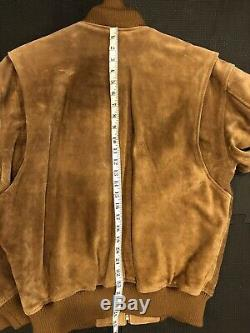 Polo Country Ralph Lauren Large Leather Bomber Jacket RRL Cowboy Suede VTG A2 B3