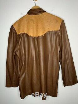 Polo Country Ralph Lauren Leather Shirt Jacket RRL Cowboy VTG Western Raw Sample